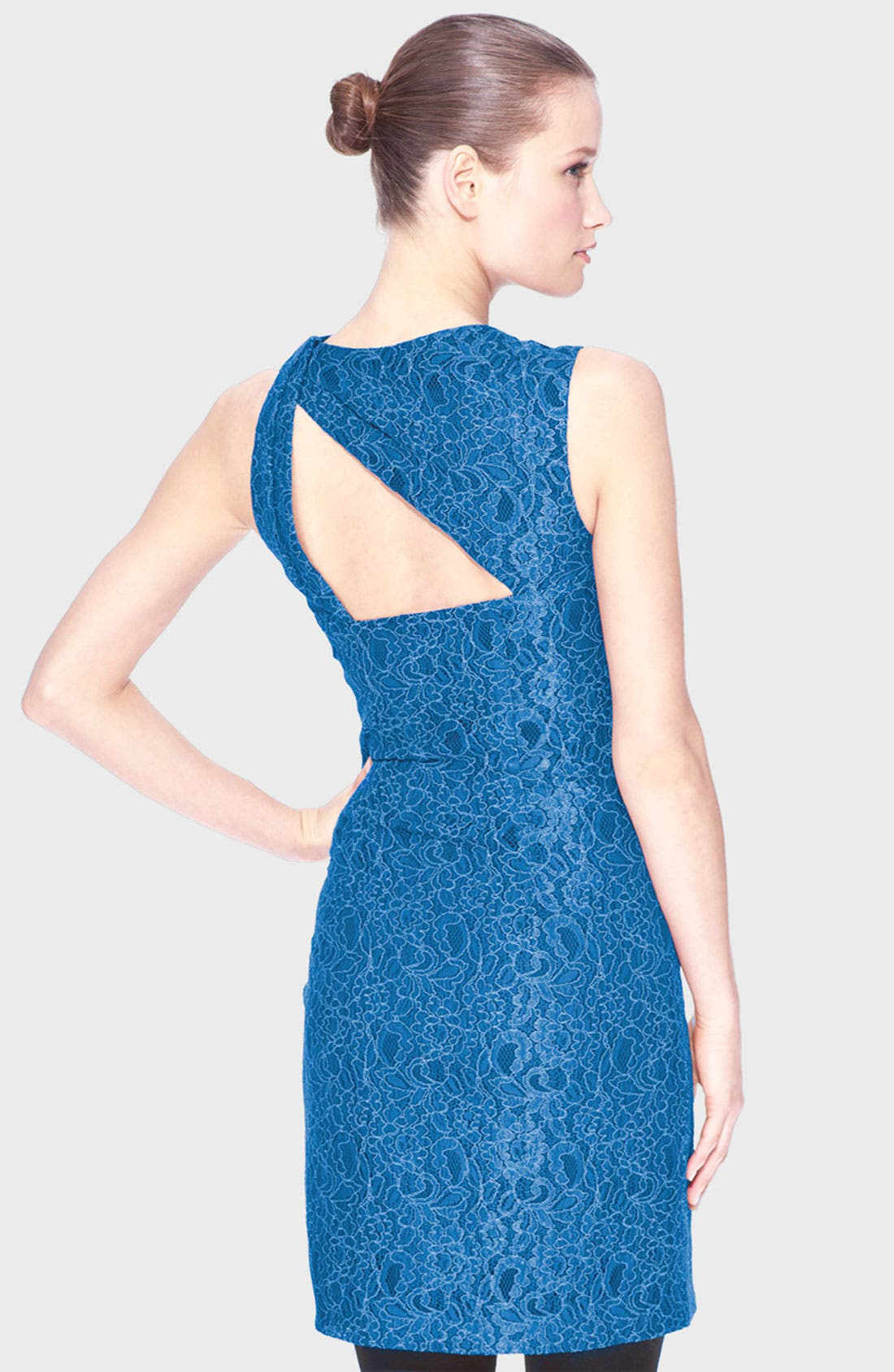 Alternate Image 2  - Marc New York Asymmetrical Neck Lace Sheath Dress