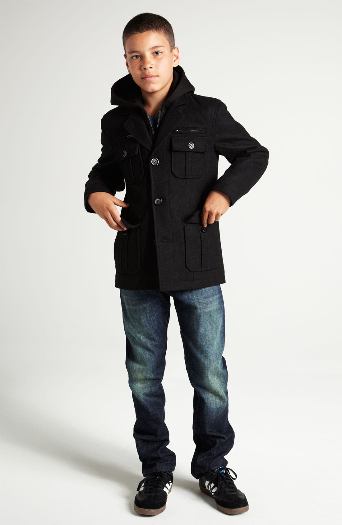 Alternate Image 2  - Black Rivet Hooded Military Jacket (Big Boys)