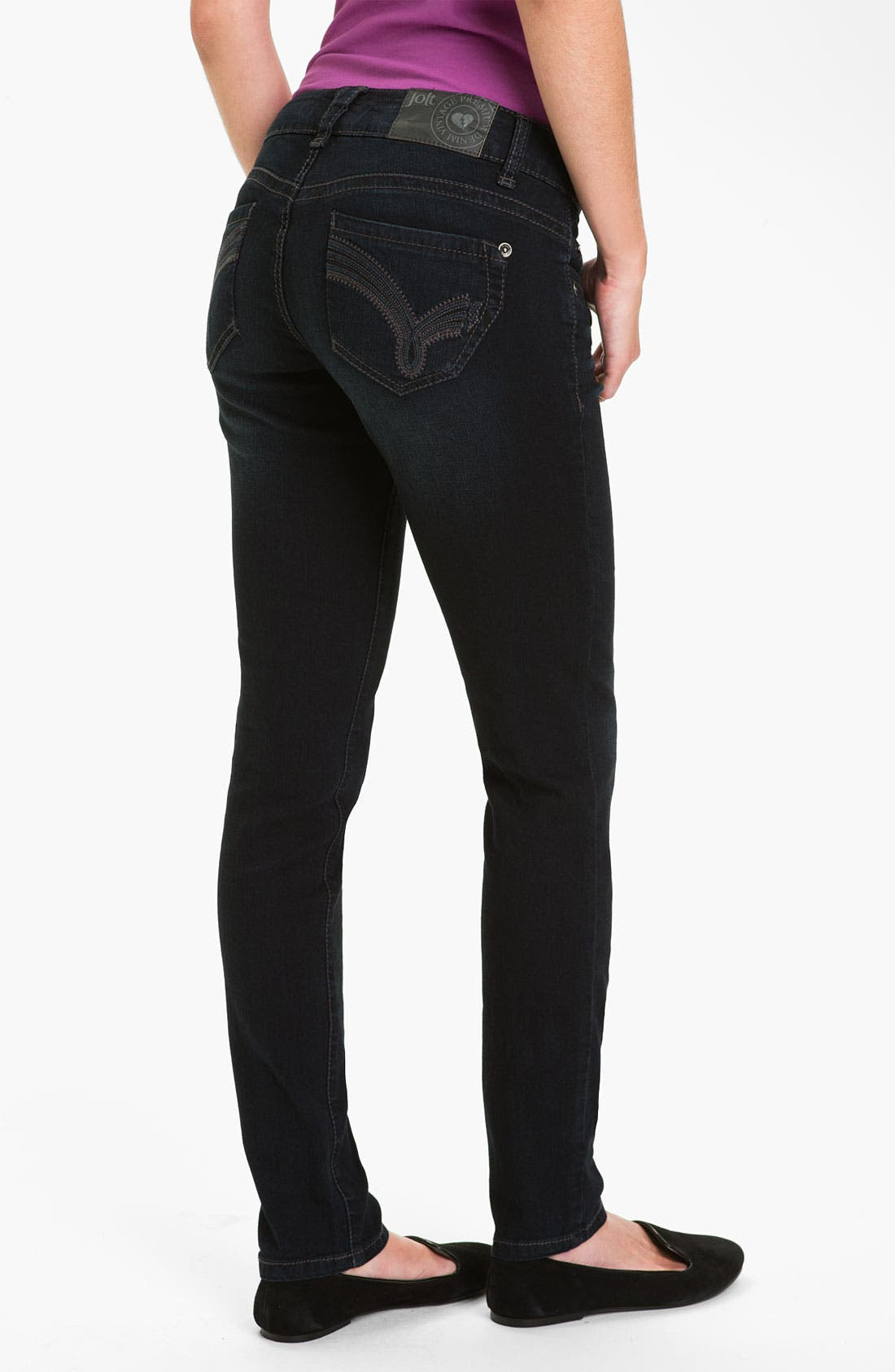 Alternate Image 1 Selected - Jolt 'J Pocket' Skinny Jeans (Juniors)