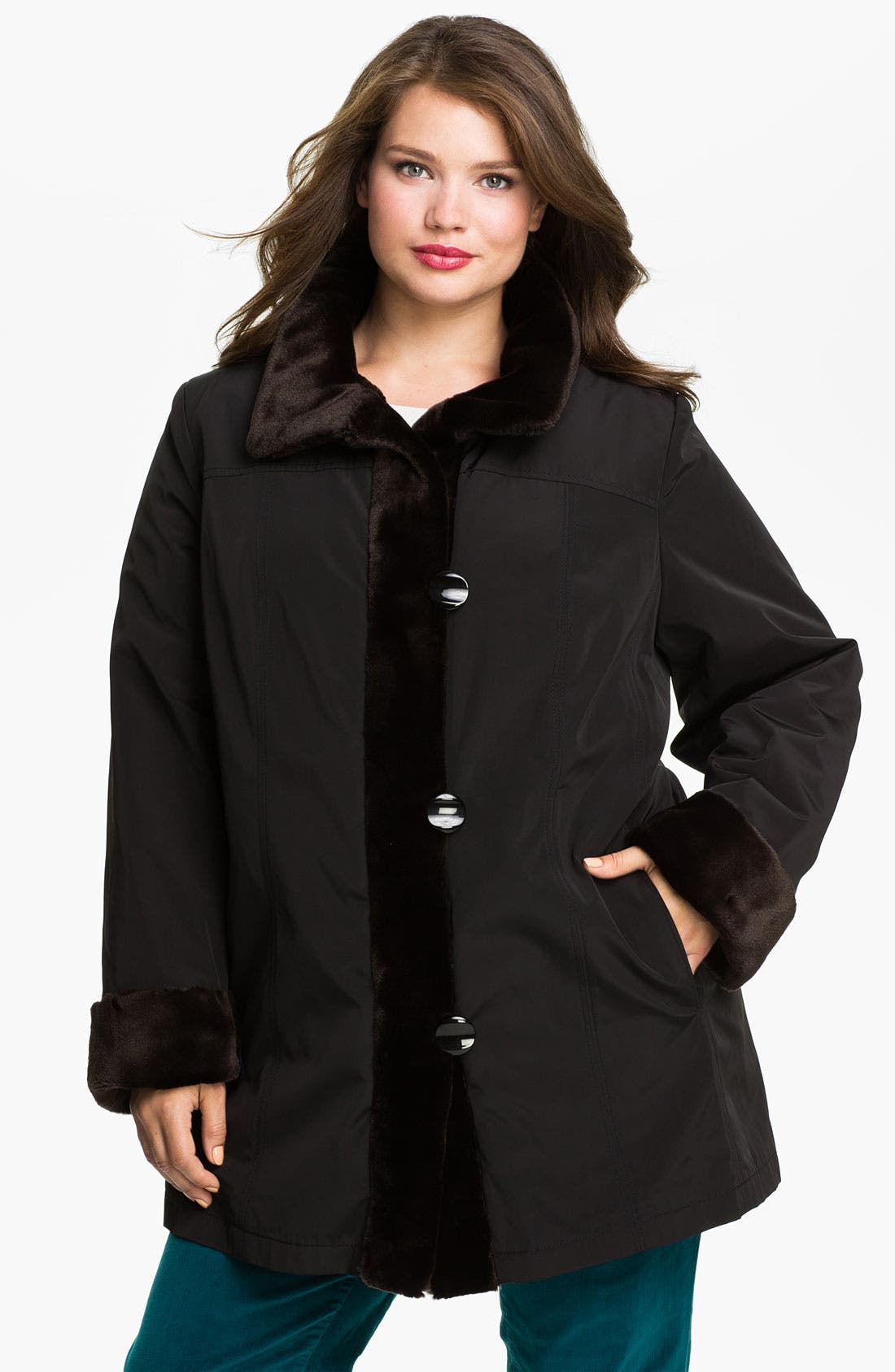 Main Image - Gallery Storm Coat with Faux Fur Lining (Plus)