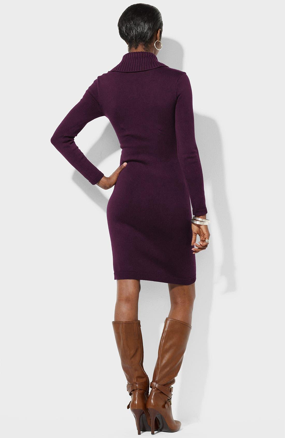 Alternate Image 2  - Lauren Ralph Lauren Faux Wrap Sweater Dress