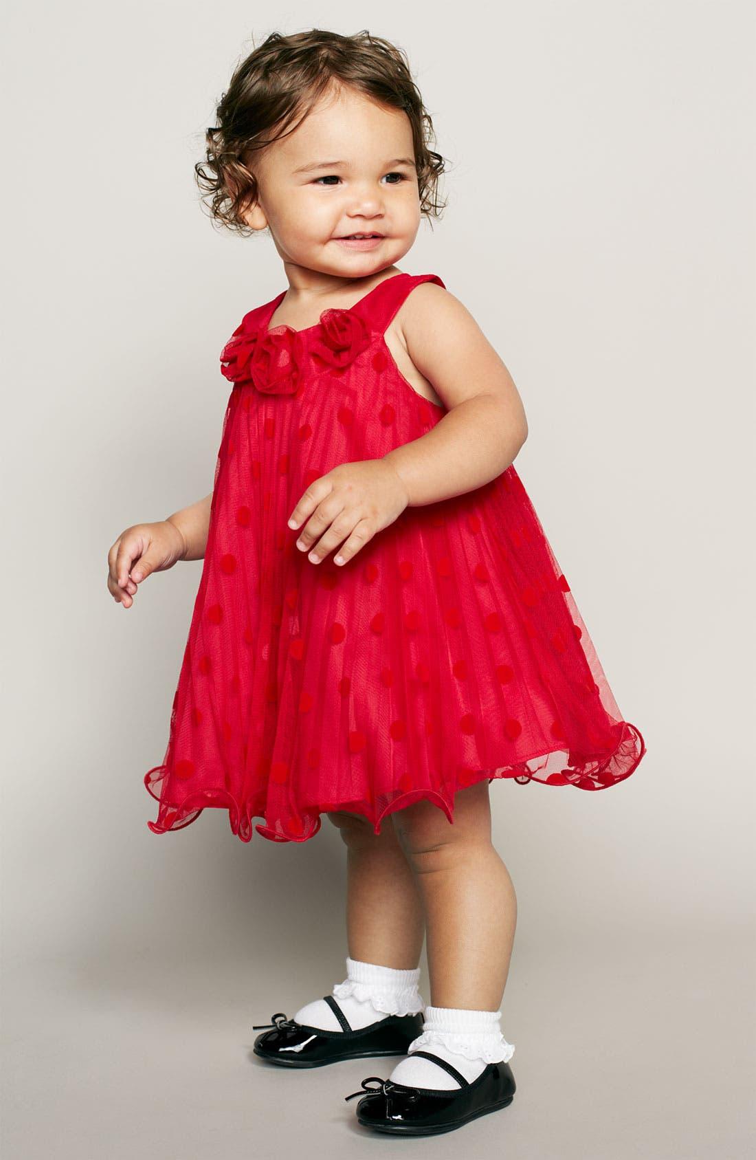 Alternate Image 2  - Gerson & Gerson Polka Dot Mesh Dress (Infant)