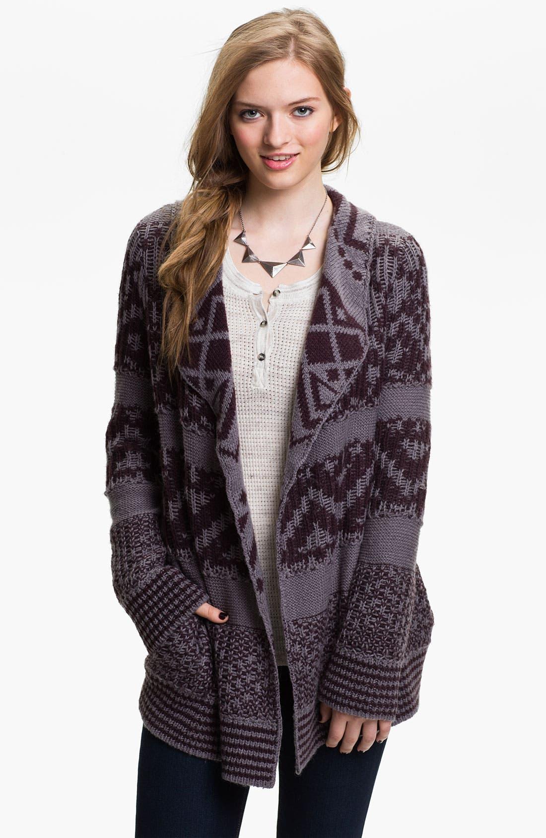 Alternate Image 1 Selected - Rubbish® Draped Nordic Knit Cardigan (Juniors)