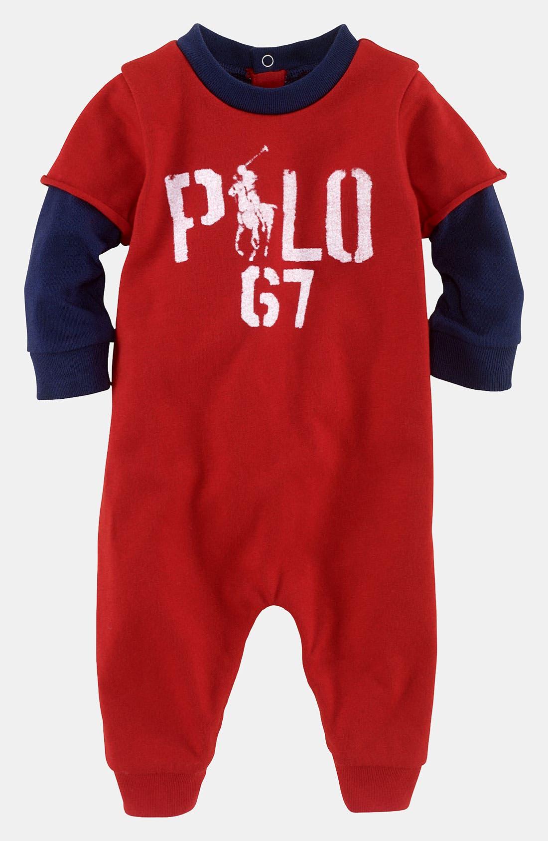 Alternate Image 1 Selected - Ralph Lauren Layered Sleeve Romper (Infant)