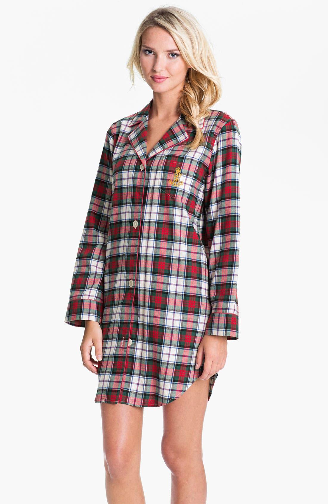 Alternate Image 1 Selected - Lauren Ralph Lauren Sleepwear Brushed Twill Nightshirt