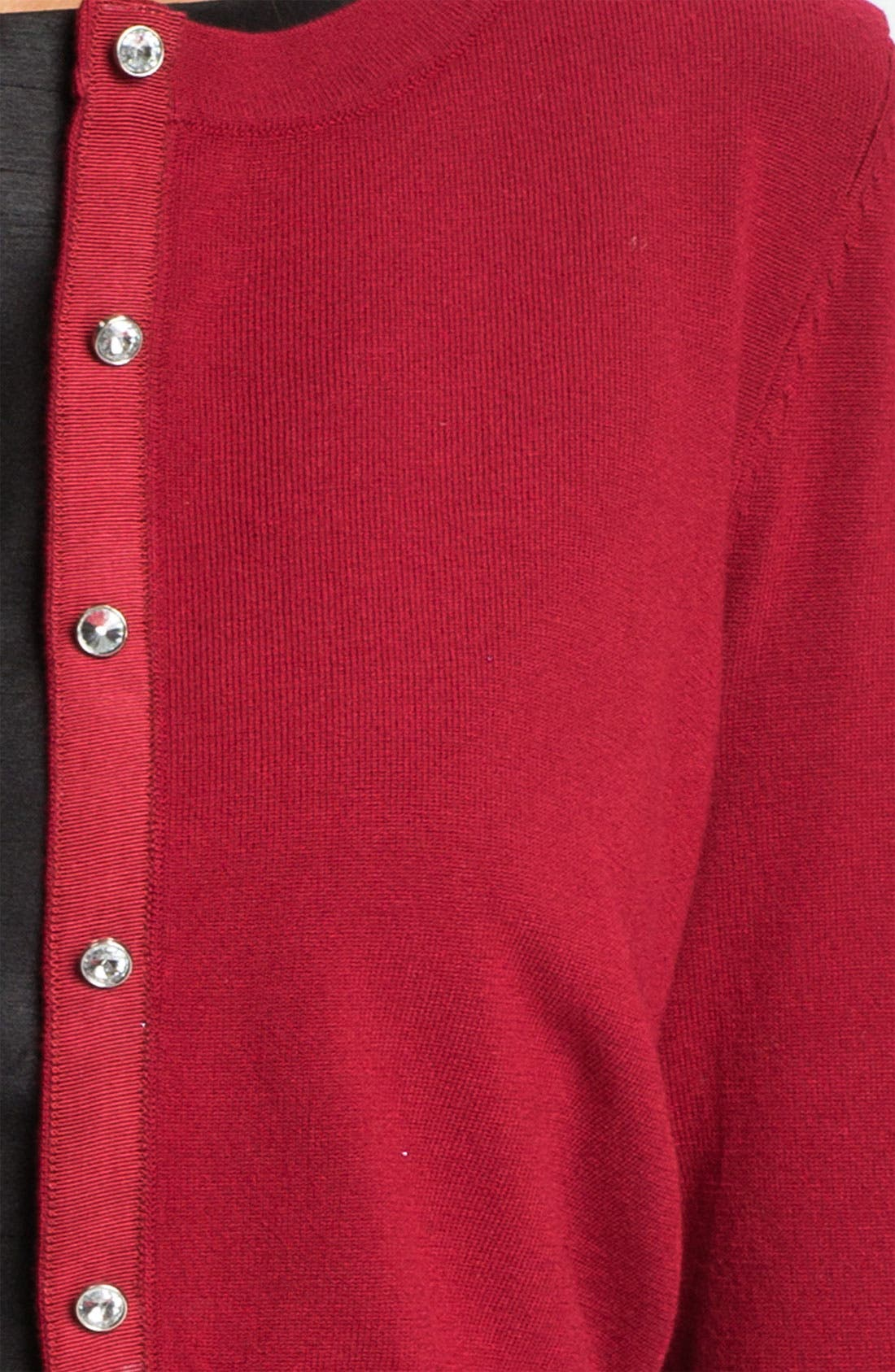 Alternate Image 3  - Donna Ricco Crystal Button Metallic Cardigan