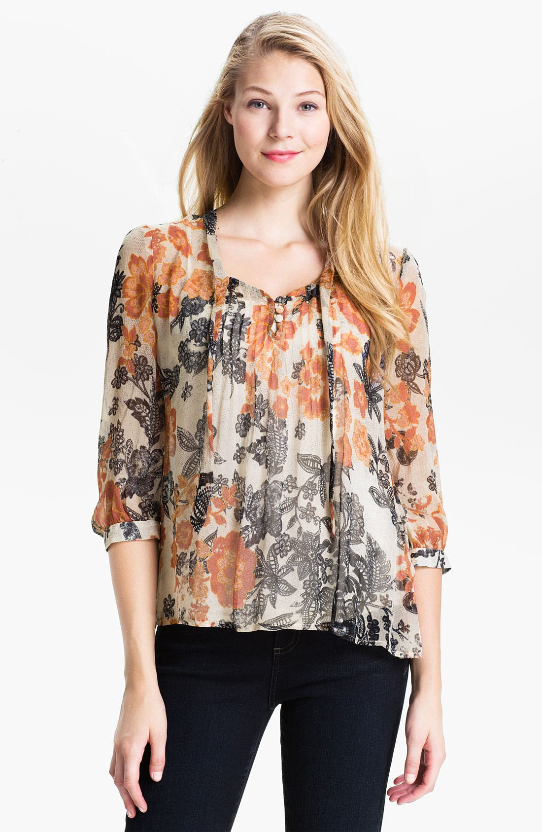 Alternate Image 1 Selected - Lucky Brand 'Talitha' Floral Blouse
