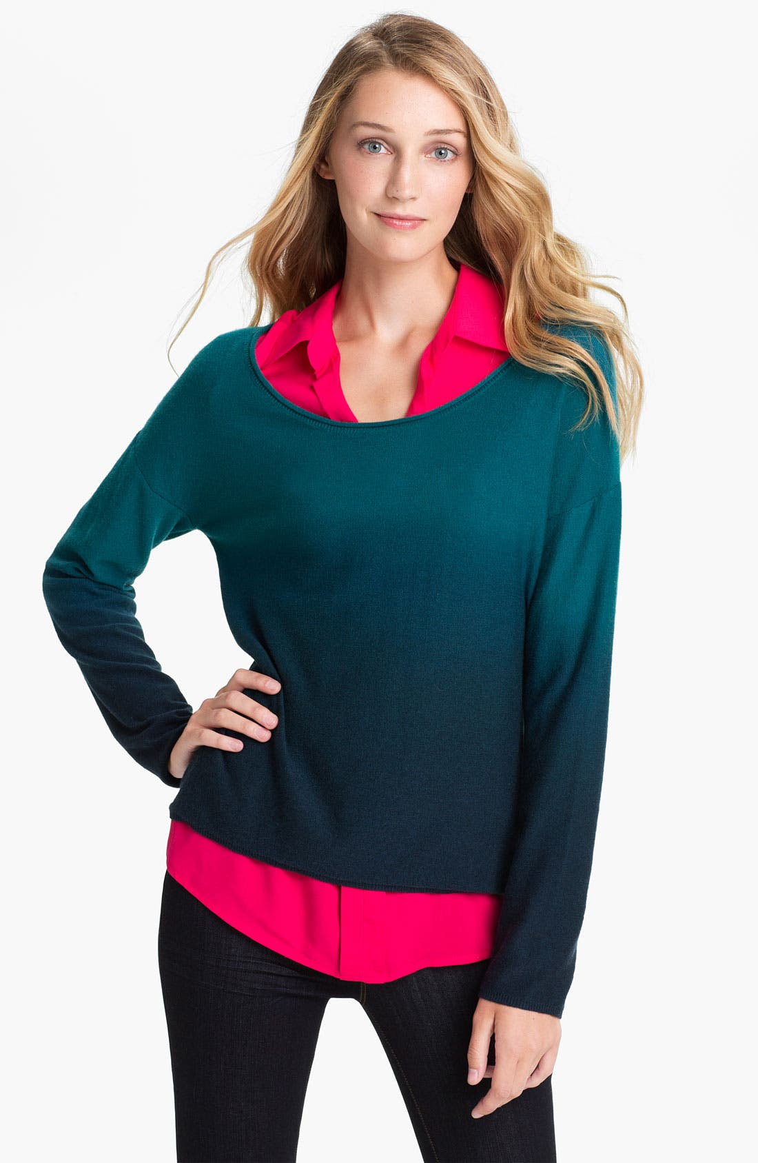 Alternate Image 1 Selected - Lucky Brand 'Dolly' Dip Dye Sweater