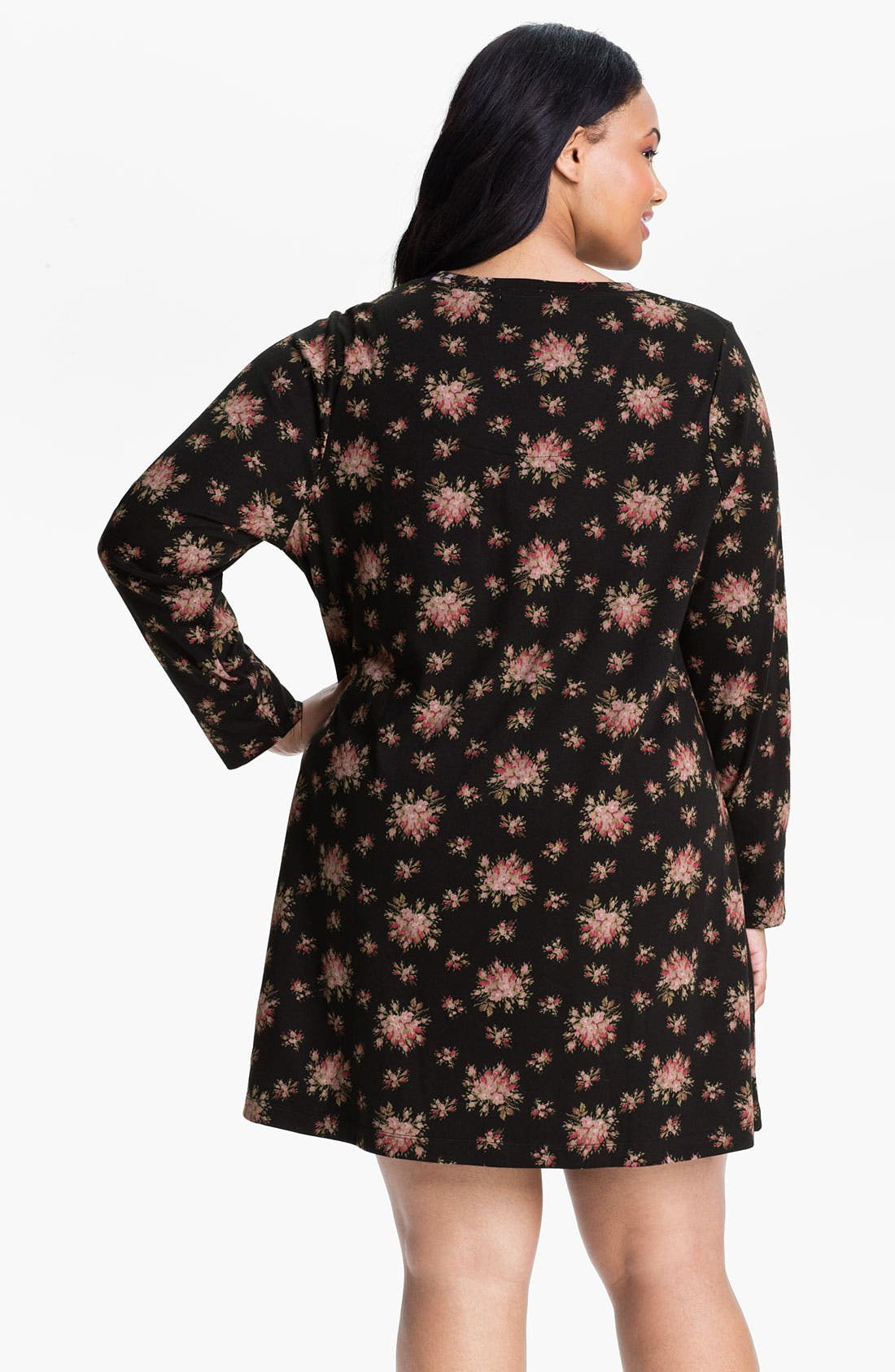 Alternate Image 2  - Carole Hochman Floral Print Interlock Sleep Shirt (Plus)