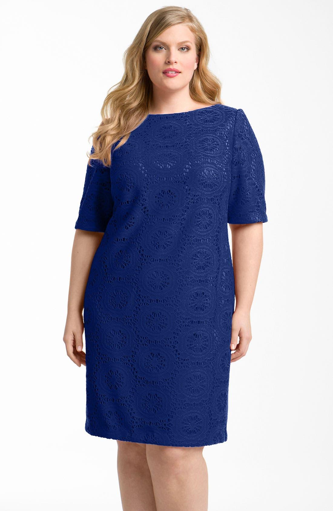 Main Image - Adrianna Papell Crochet Overlay Sheath Dress (Plus)
