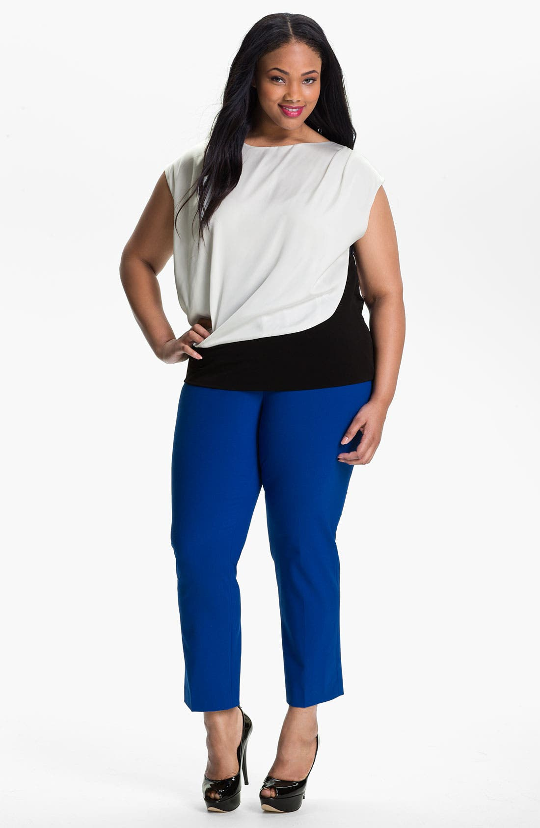 Main Image - Vince Camuto Satin Overlay Top (Plus)
