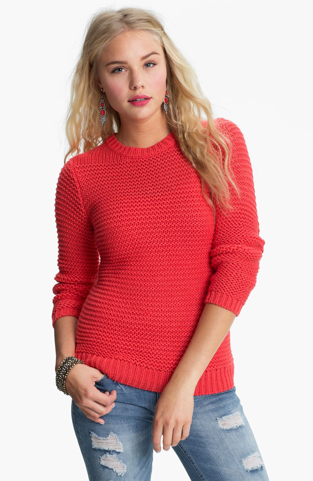 Alternate Image 1 Selected - Rubbish® Chunky Knit Sweater (Juniors)