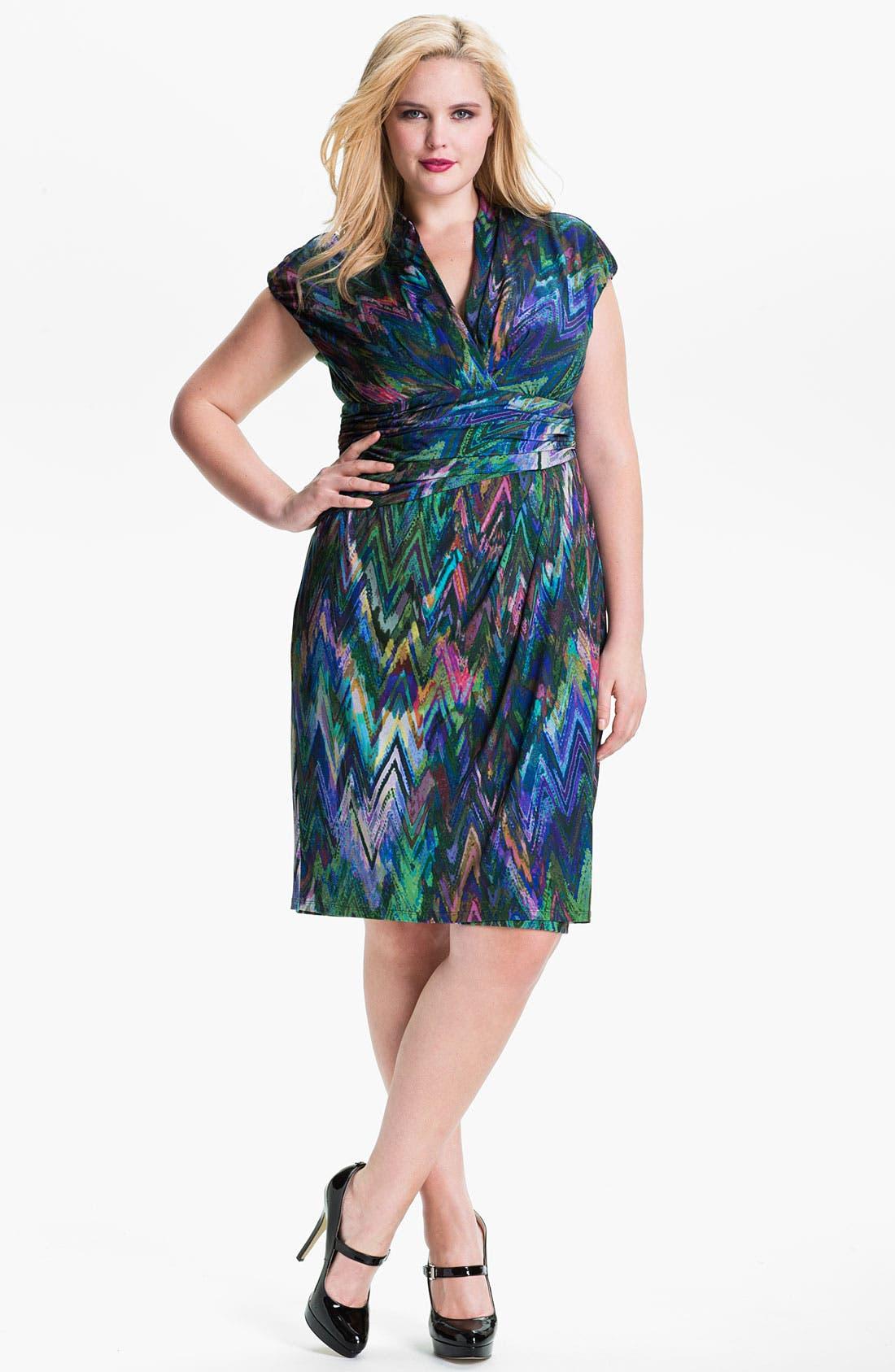 Alternate Image 1 Selected - Suzi Chin for Maggy Boutique Print Surplice Sheath Dress (Plus)