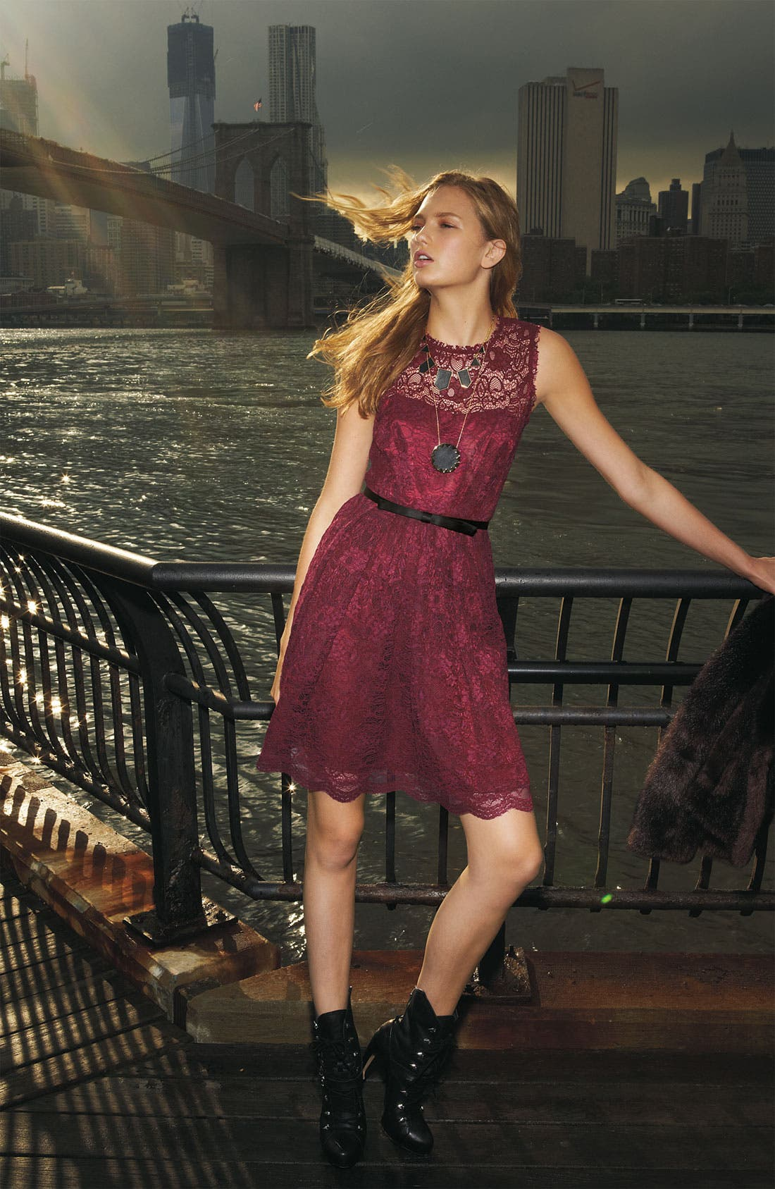 Alternate Image 2  - Taylor Dresses Illusion Yoke Lace Fit & Flare Dress