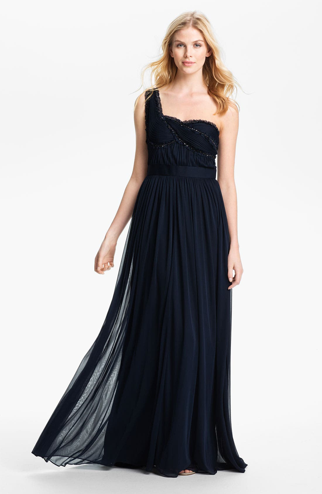 Main Image - Adrianna Papell One Shoulder Embellished Bodice Pleated Gown