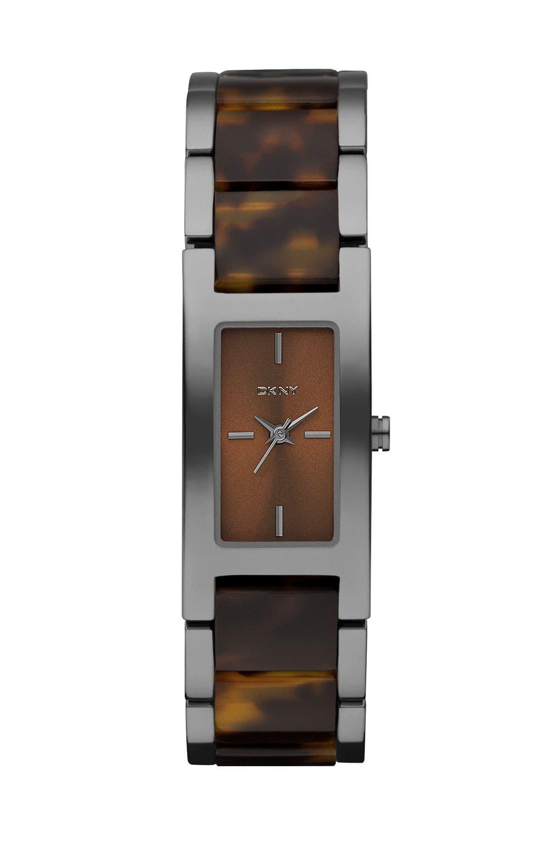 Alternate Image 1 Selected - DKNY Small Rectangular Bracelet Watch
