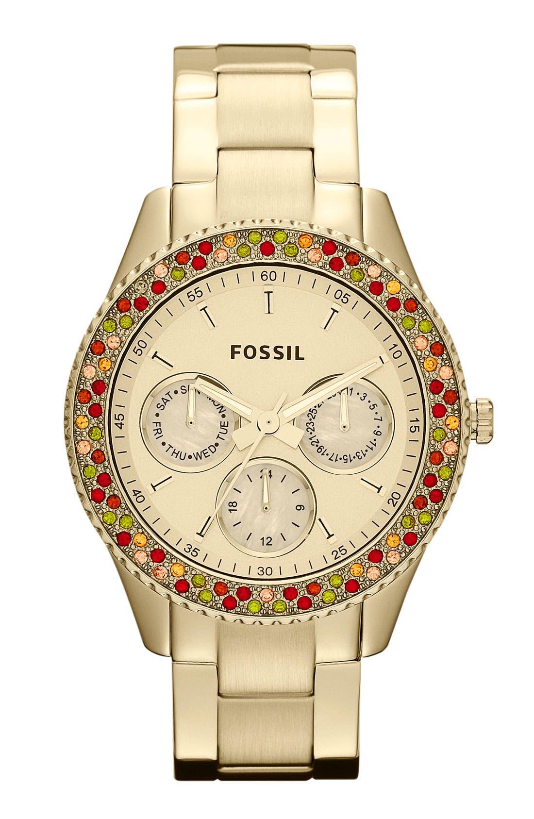 Alternate Image 1 Selected - Fossil 'Stella' Crystal Bezel Multifunction Watch, 37mm