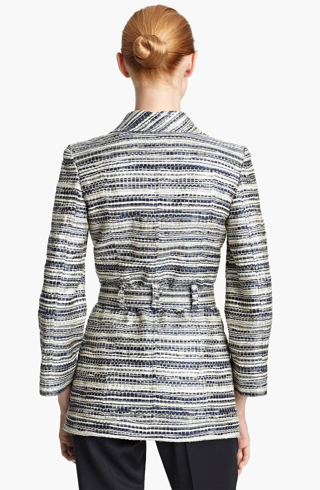 Alternate Image 2  - Oscar de la Renta Belted Metallic Tweed Jacket