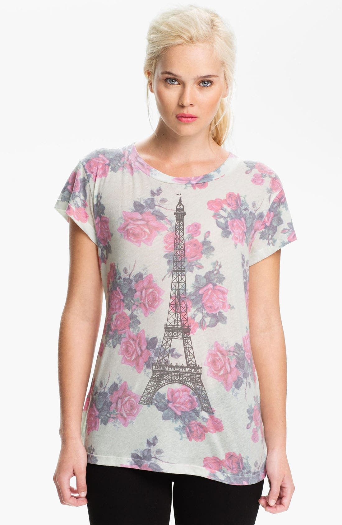 Alternate Image 1 Selected - Wildfox 'Tour Eiffel' Rose Print Graphic Tee