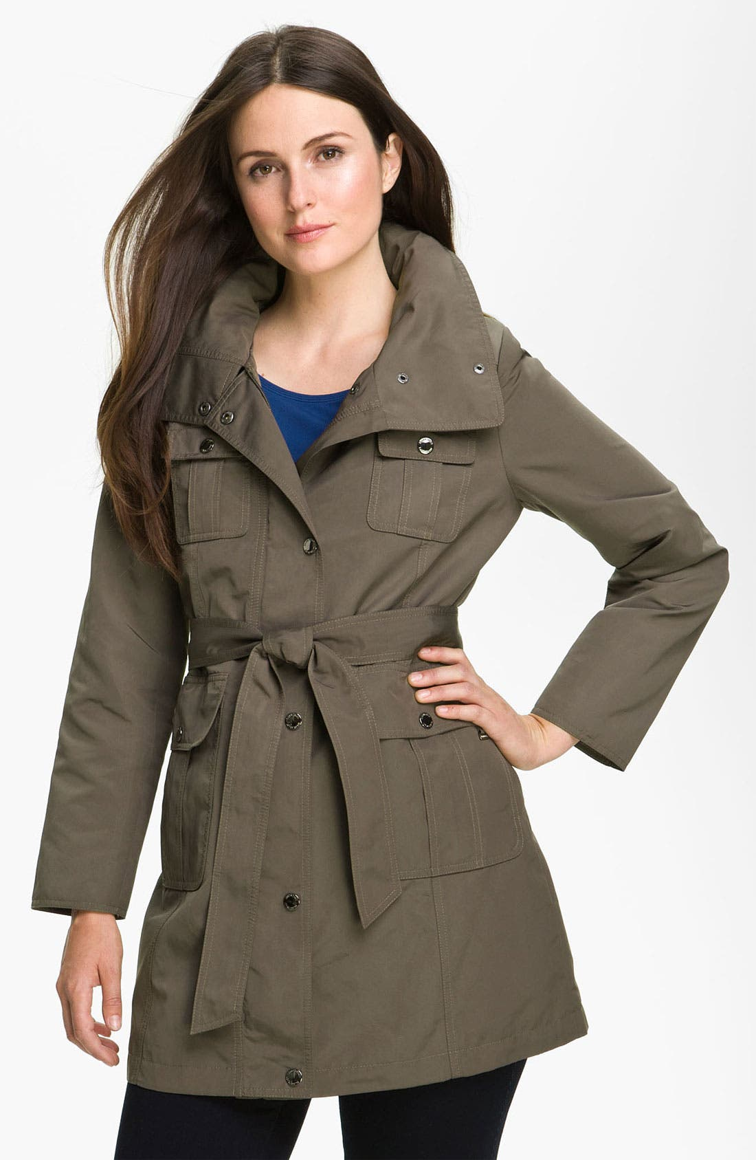 Alternate Image 1 Selected - Ellen Tracy Trench Jacket with Hidden Hood