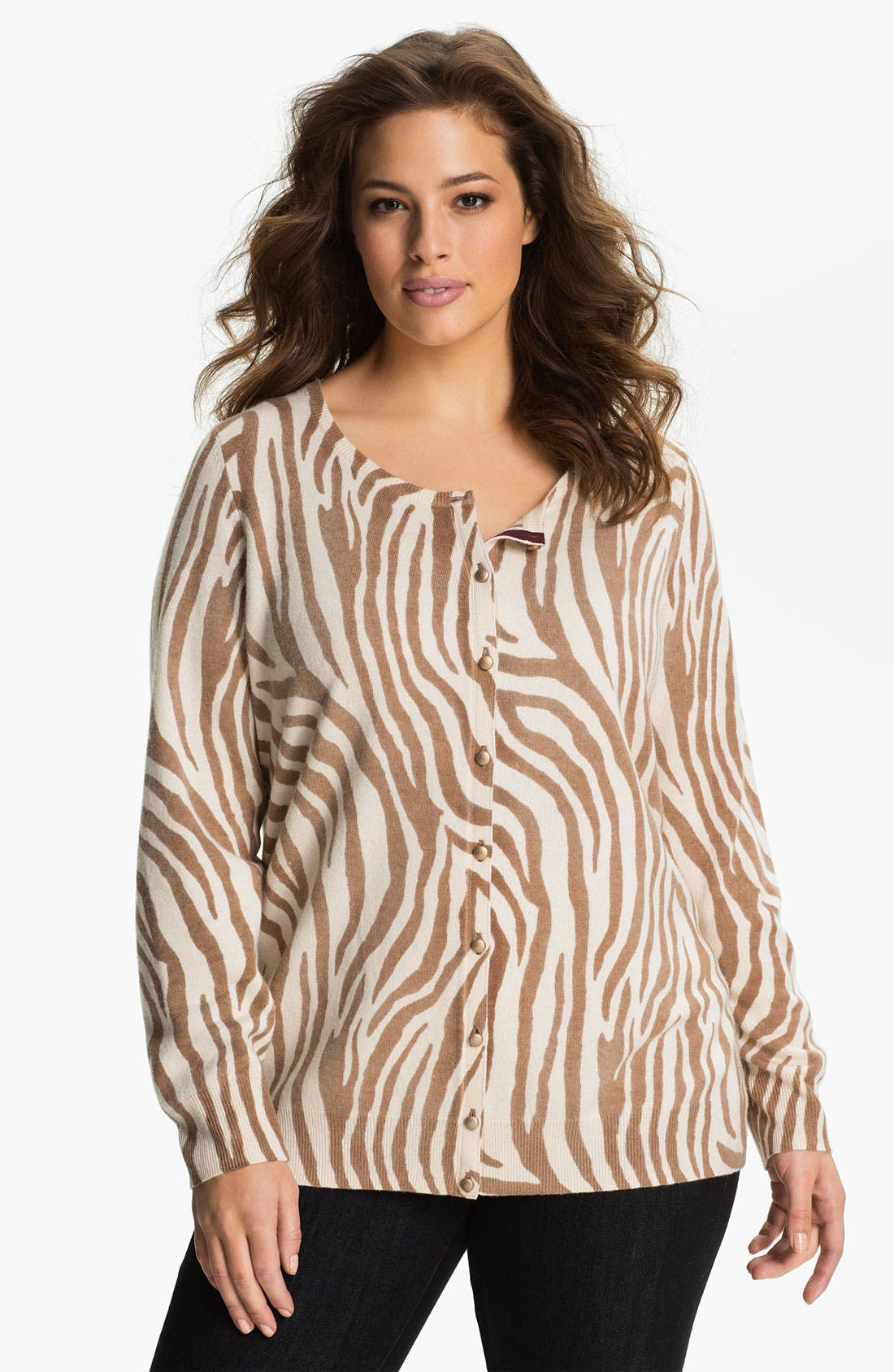 Alternate Image 1 Selected - Lucky Brand Zebra Print Cardigan (Plus)
