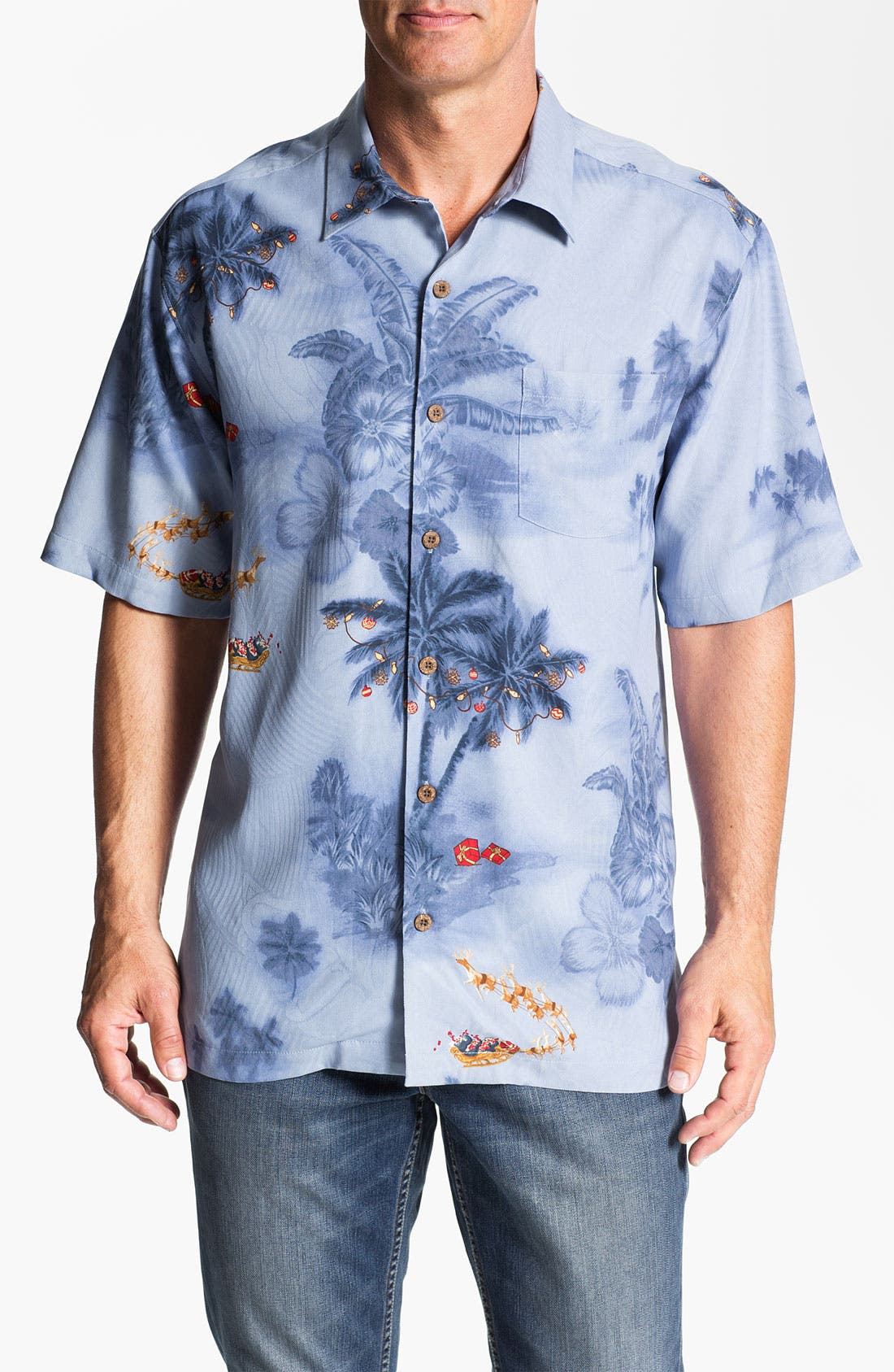 Alternate Image 1 Selected - Tommy Bahama 'Dashing Through The Palms' Silk Campshirt