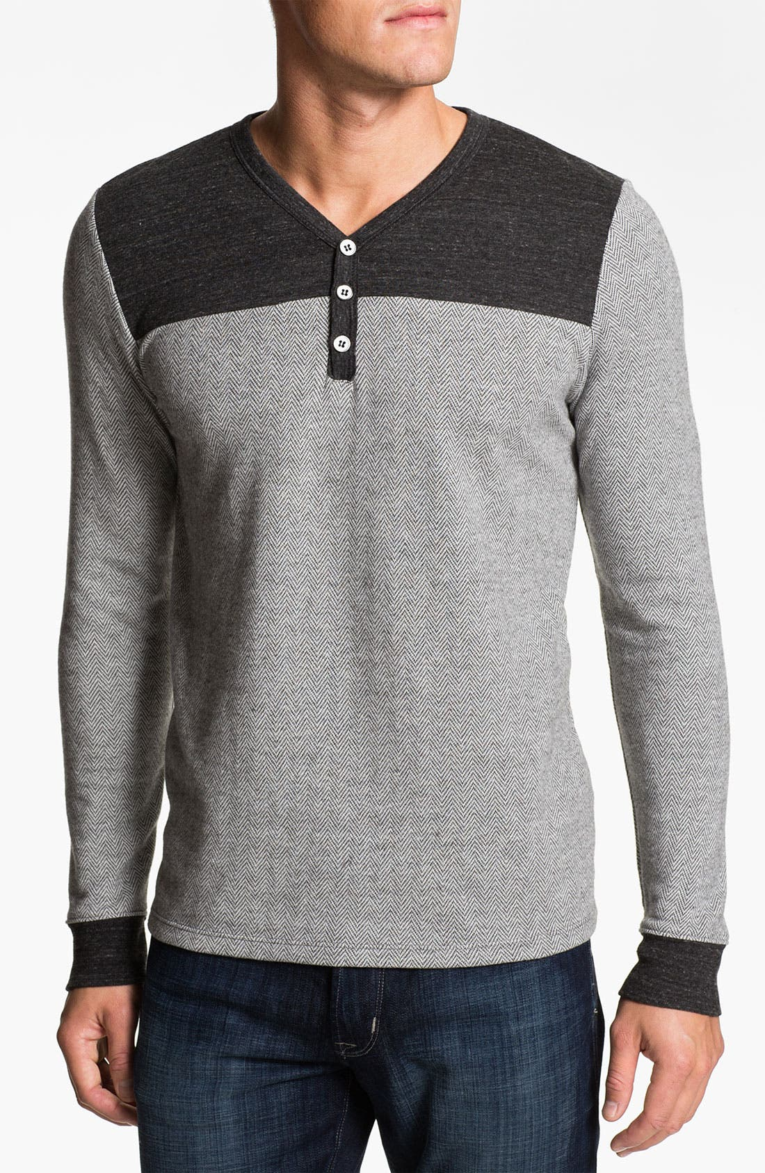 Alternate Image 1 Selected - Threads for Thought V-Neck Herringbone Henley