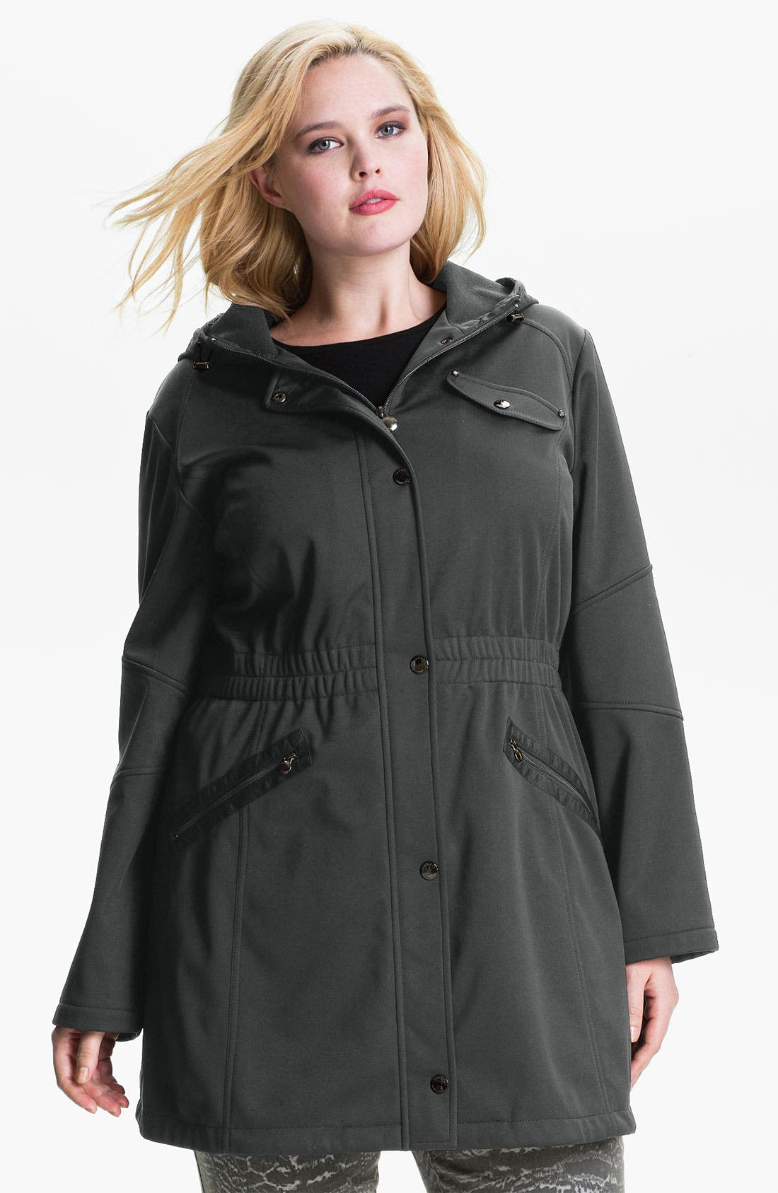 Main Image - Laundry by Shelli Segal Softshell Anorak (Plus) (Nordstrom Exclusive)