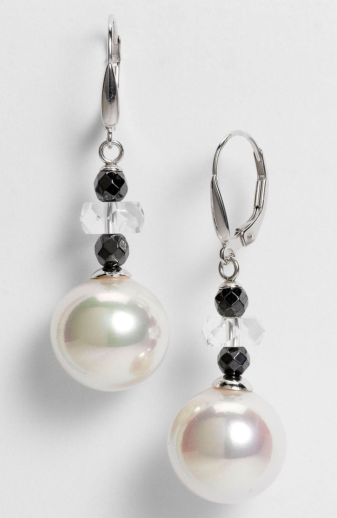 Main Image - Majorica 14mm Pearl Linear Earrings