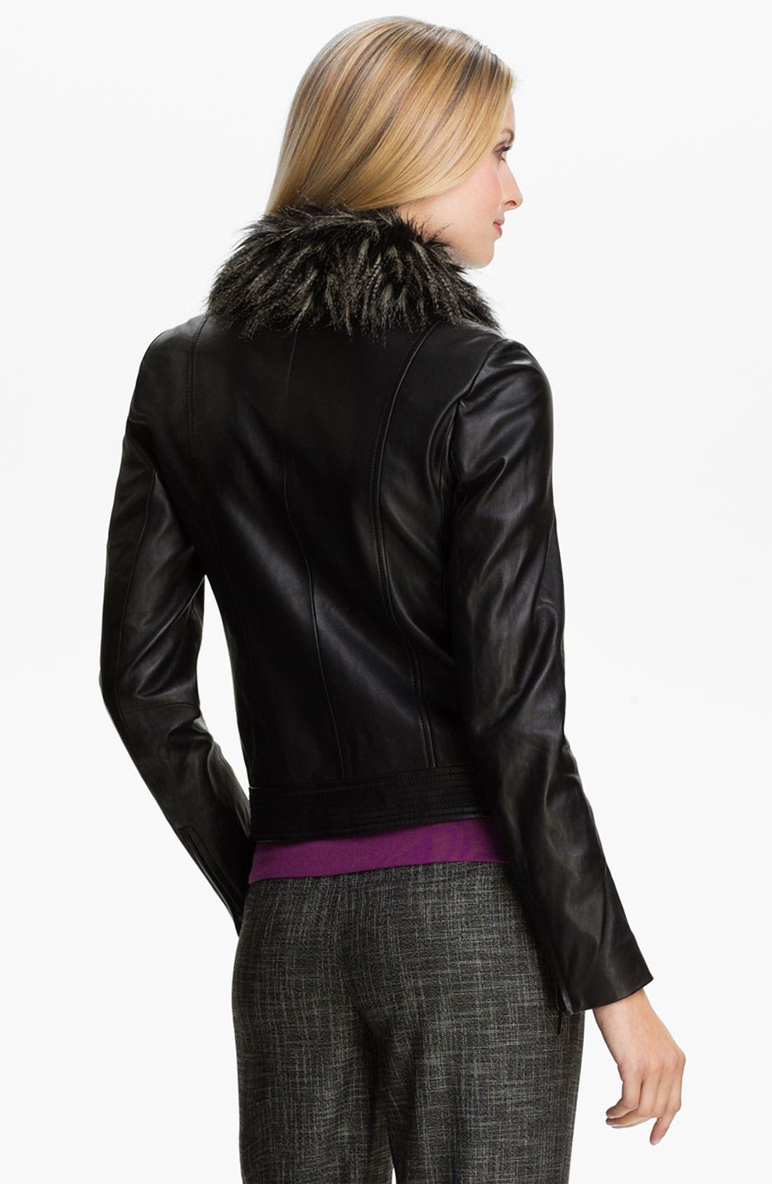 Alternate Image 2  - Classiques Entier® 'Brenna' Leather Jacket with Faux Fur