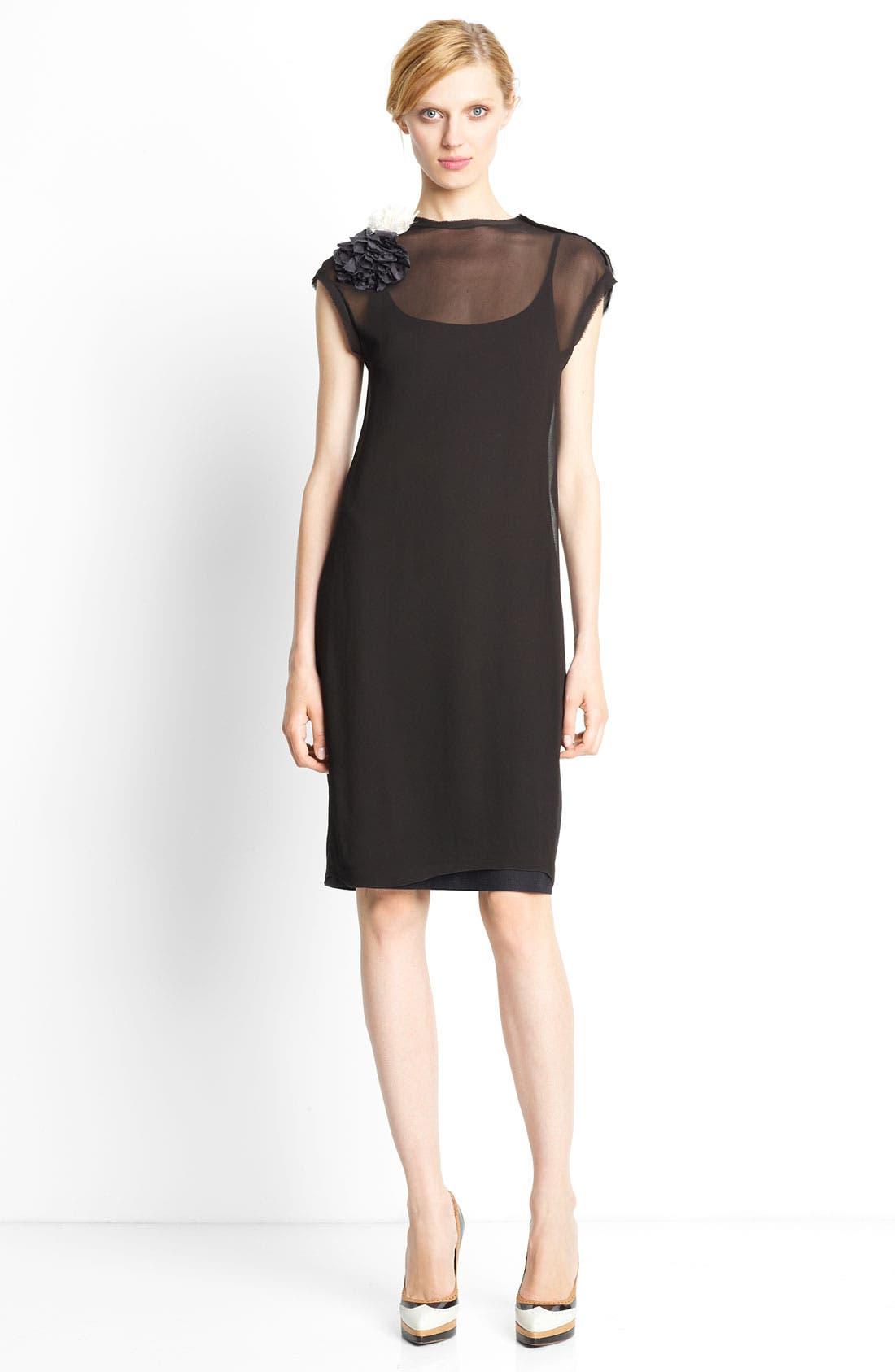 Main Image - Lanvin Flower Embellished Jersey T-Shirt Dress