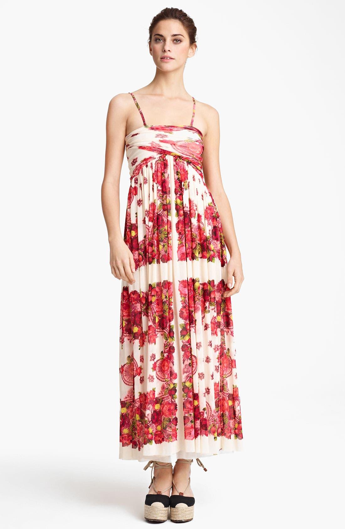Main Image - Jean Paul Gaultier Fuzzi Rose Print Tulle Maxi Dress