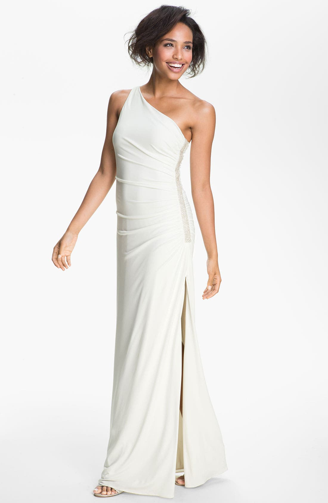 Main Image - Laundry by Shelli Segal Side Embellished One Shoulder Jersey Gown