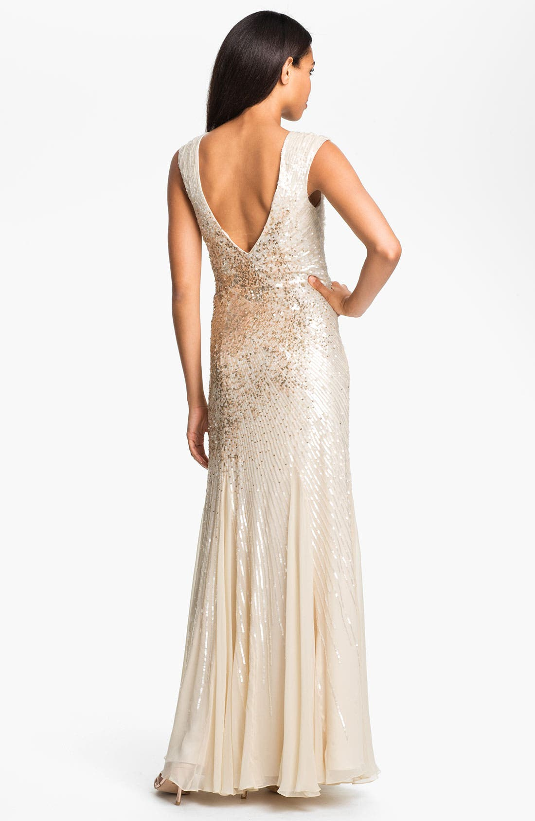 Alternate Image 2  - Alberto Makali Embellished V-Back Silk Chiffon Gown
