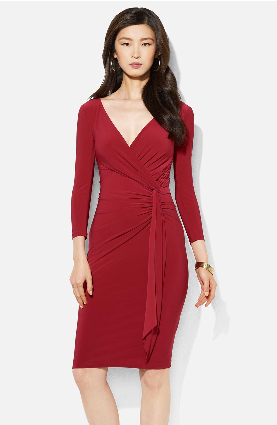 Main Image - Lauren Ralph Lauren Surplice Jersey Sheath Dress