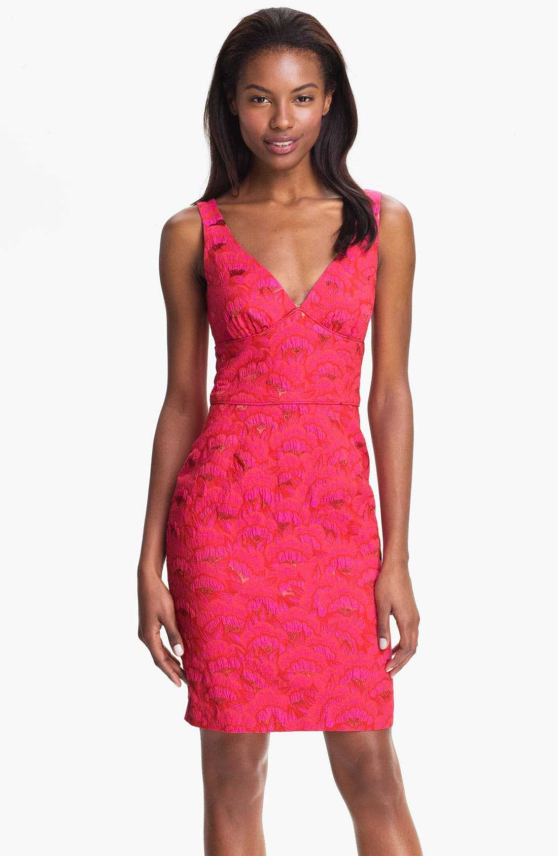 Alternate Image 1 Selected - Trina Turk 'Miss Caruso' V-Neck Floral Jacquard Sheath Dress