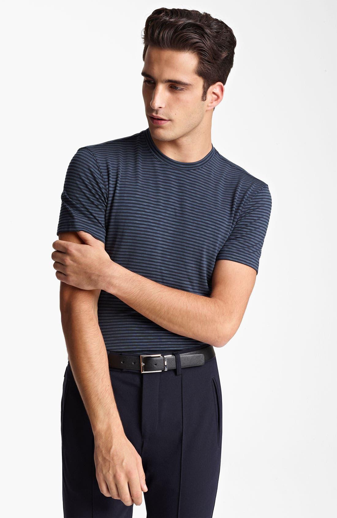 Main Image - Armani Collezioni Jersey Stripe Crewneck T-Shirt