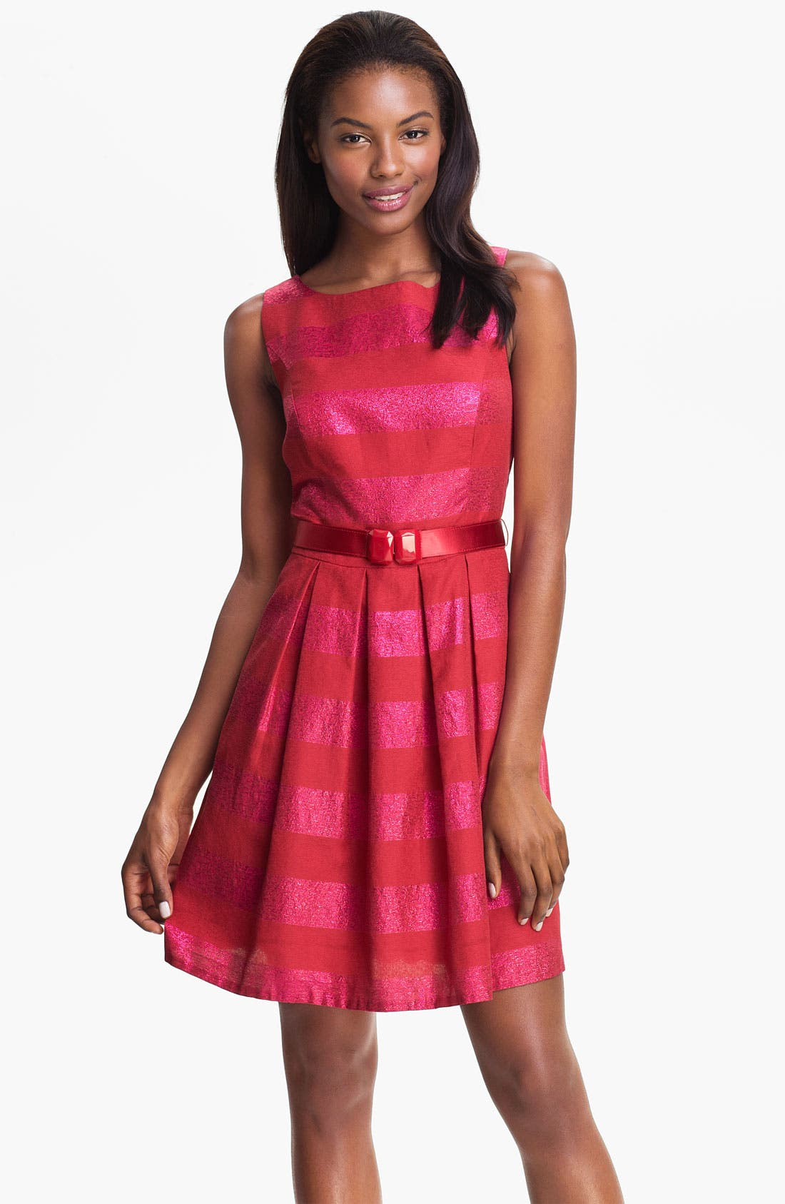 Main Image - Trina Turk 'Domino' Metallic Stripe Jacquard Fit & Flare Dress