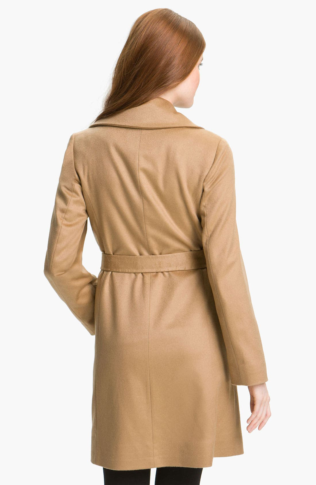 Alternate Image 2  - Fleurette Lightweight Cashmere Wrap Coat (Petite)