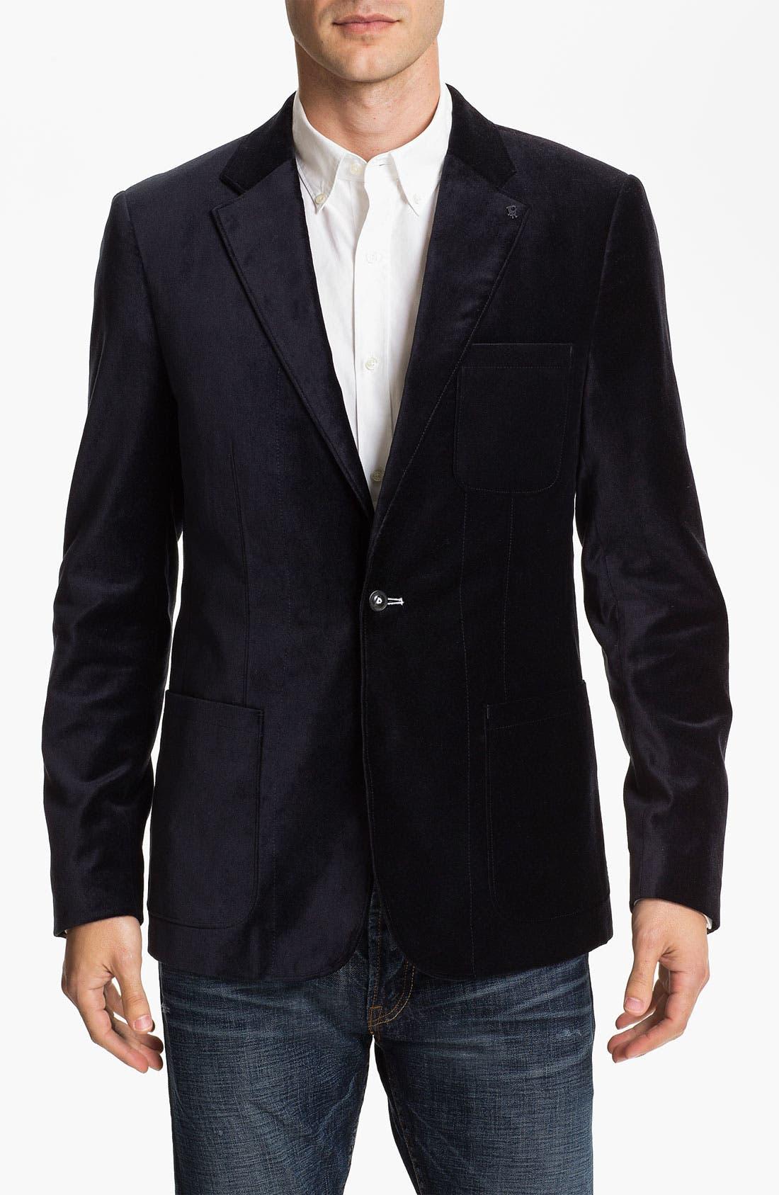 Main Image - J.C. Rags Extra Trim Fit Velvet Blazer