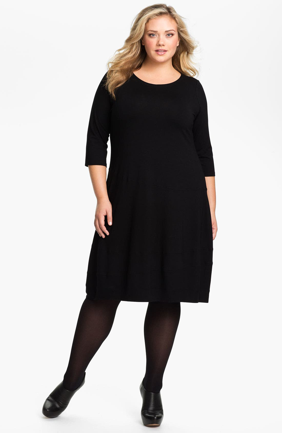 Alternate Image 1 Selected - Eileen Fisher Scoop Neck Knit Dress (Plus)