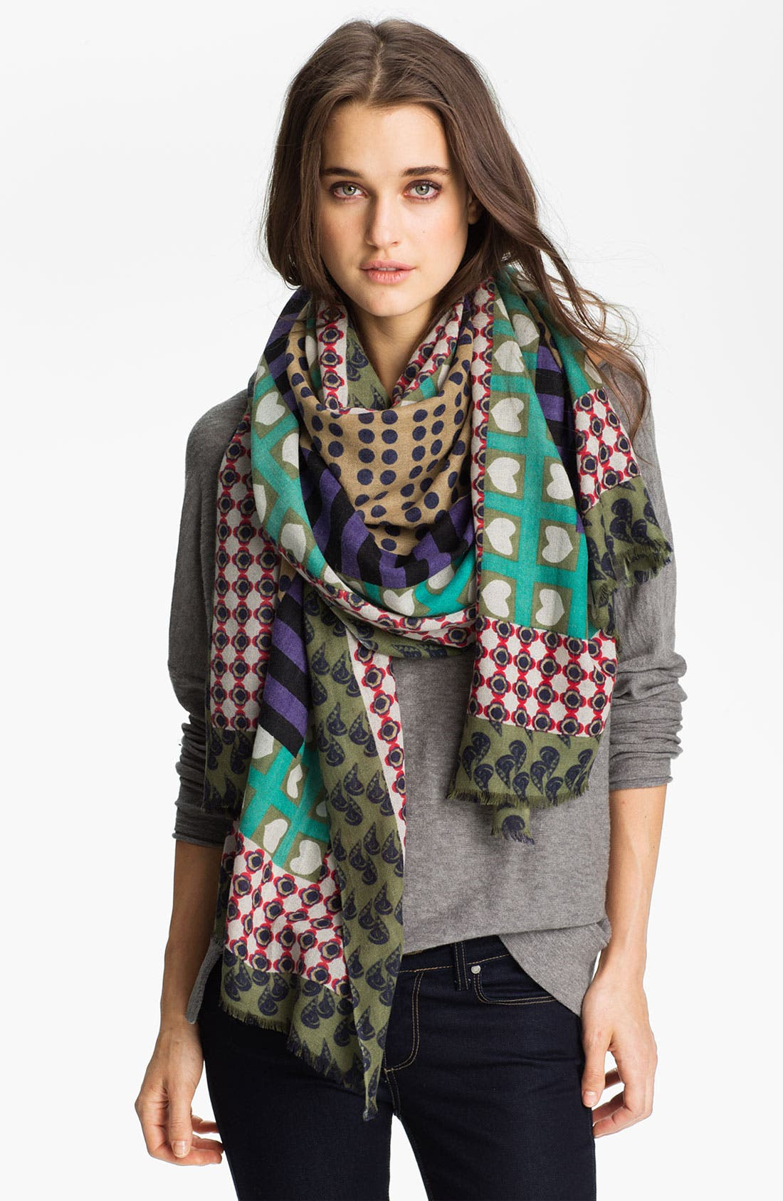 Alternate Image 1 Selected - Yarnz 'Borders' Cashmere Scarf