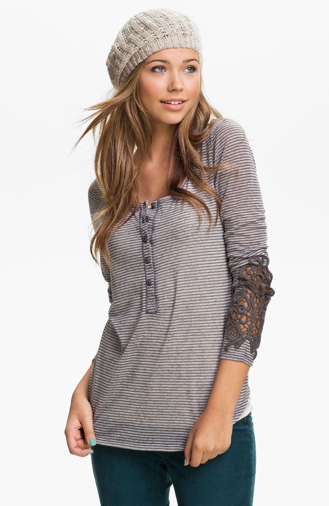 Main Image - Painted Threads Crochet Sleeve Henley (Juniors)