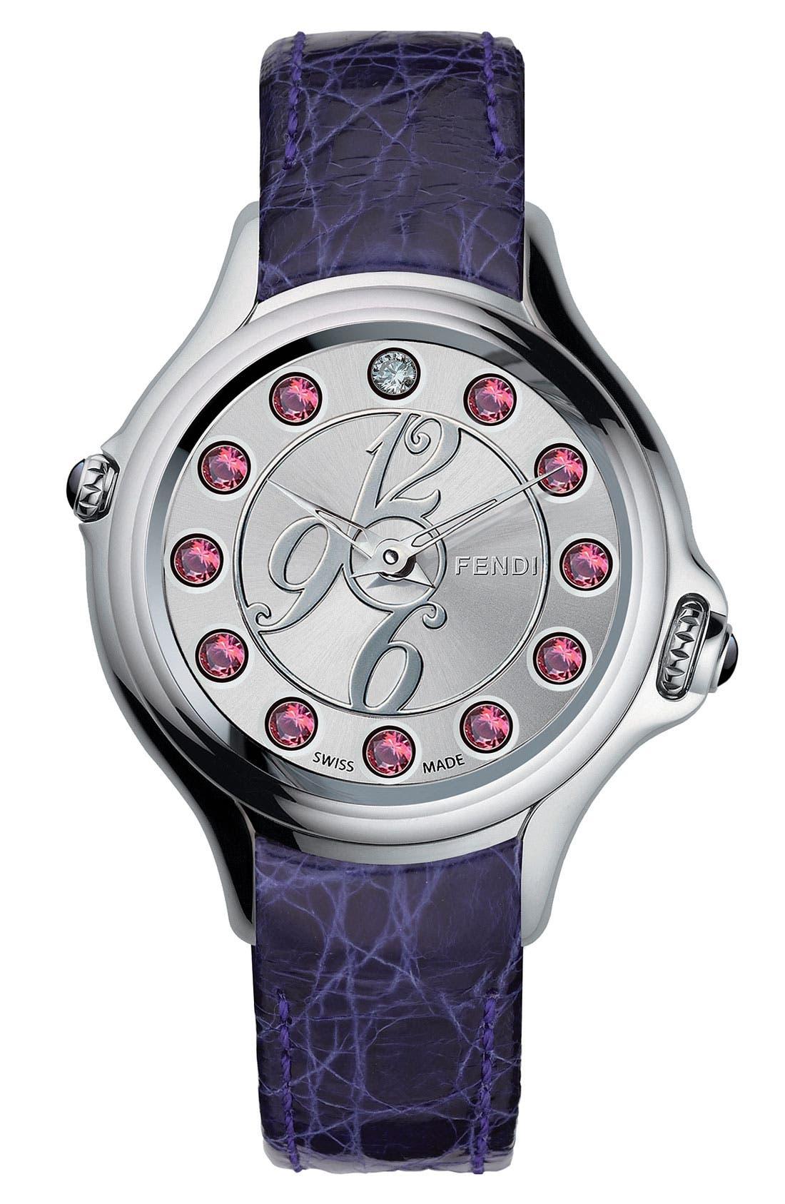 Alternate Image 2  - Fendi 'Crazy Carats' Teju Lizardskin Strap Watch, 38mm