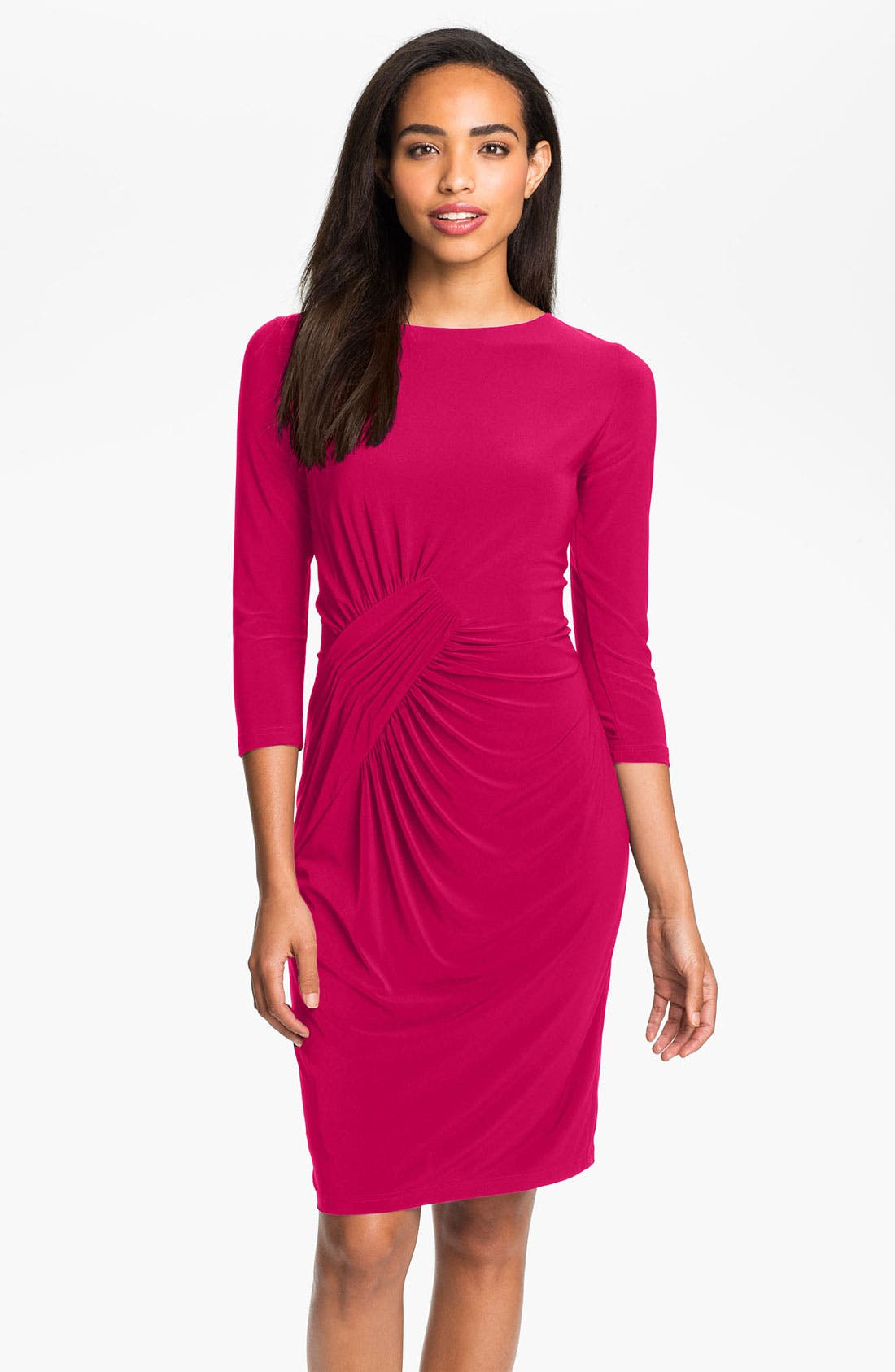Alternate Image 1 Selected - Adrianna Papell Asymmetrically Ruched Jersey Dress
