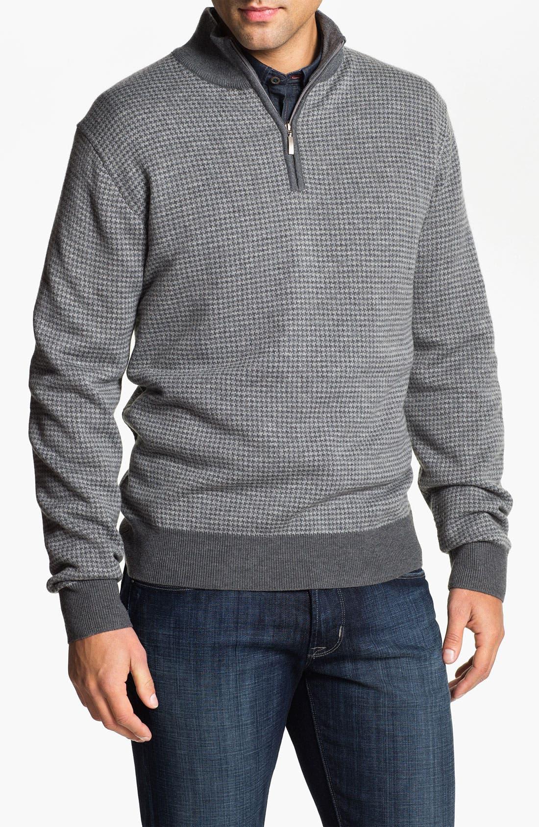 Alternate Image 1 Selected - Toscano Merino Quarter Zip Wool Blend Sweater