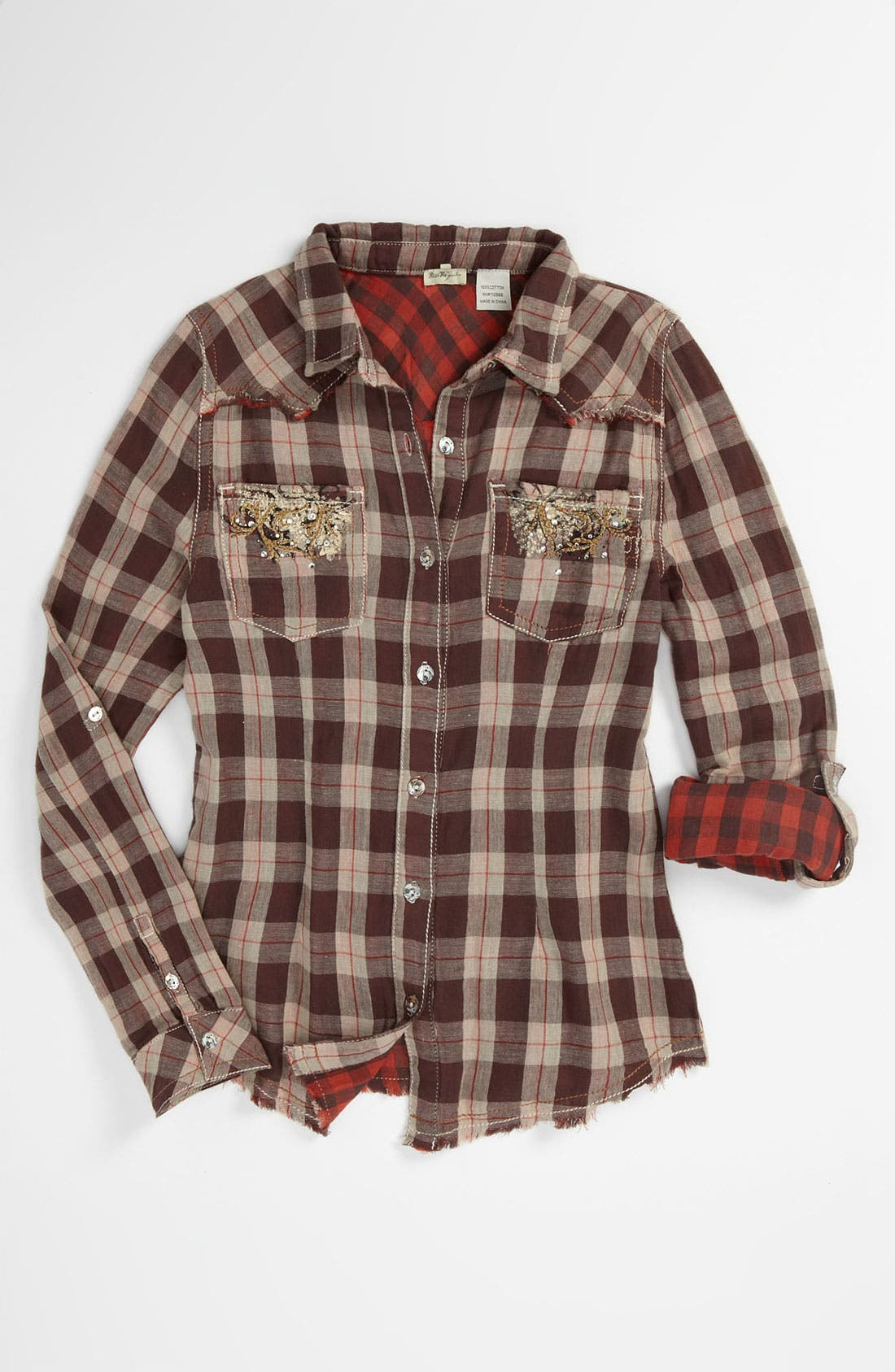 Alternate Image 1 Selected - Miss Me Plaid Shirt (Big Girls)