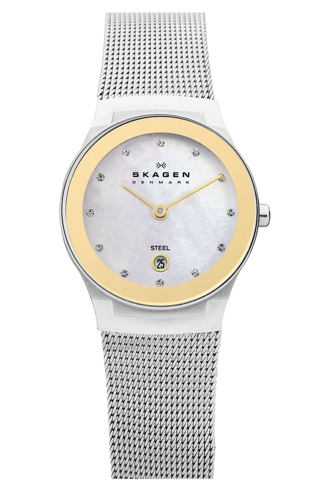 Alternate Image 1 Selected - Skagen Small Round Mirror Bezel Watch