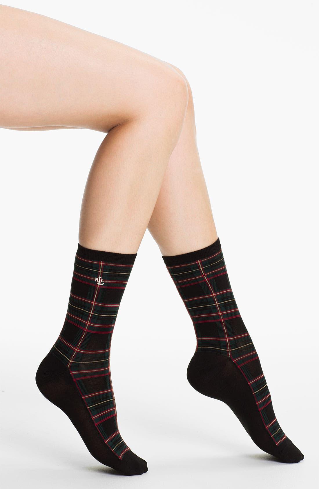 Main Image - Ralph Lauren Plaid Crew Socks (2-Pack)