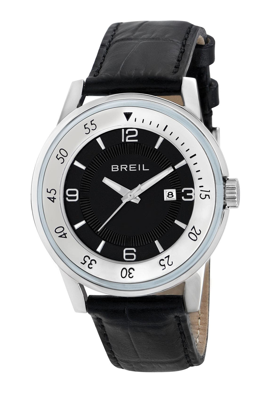 Alternate Image 1 Selected - Breil 'Orchestra' Round Leather Strap Watch, 40mm